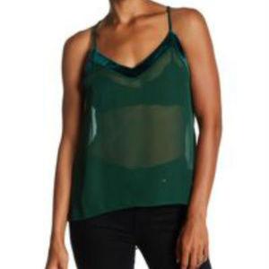 Lily White Velvet Trim Hi-Lo Tank Top Green Sheer